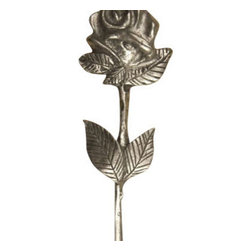 Anne at Home Hardware - Rose With Stem & Leaves Knob, Antique Bronze - Made in the USA - Anne at Home customized cabinet hardware enables even the most discriminating homeowner to achieve the look of their dreams.  Because Anne at Home cabinet hardware is designed to meet your preferences, it may take up to 3-4 weeks to arrive at your door. But don't let that stop you - having customized Anne at Home cabinet knobs and pulls are well worth the wait!- Drill Centers - 3  - Available in many finishes.