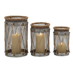 """Benzara - Attractive Styled Metal Candle Holder - Incorporate the warm glow of the candle light in your living room with this set of three candle holder. These candle holders are crafted of quality metal and thus durable. The metal candle holder features rope and net designs all over the circle amid of which stands an attractive candle.Maintaining these holders too is very easy as you can clean it with a wet or dry cloth to avoid dust formation. This candle will simply look amazing on your dining table, side table or above your bathroom hutch. You can choose to keep these candle holders together or one in a place to give an electric look. Having dinner in the candle light will indeed give you a romantic feel. So, surprise your spouse by holding a candle light dinner with the help of this holder. This candle holder measures 7 inches (Width) x 7 inches (D) x 11inches (H), 6 inches (Width) x 6 inches (D) x 9 inches (H); Yellow accents; Durable metal construction; Dimensions: 25""""L x 6""""W x 13""""H"""