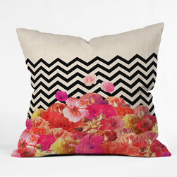 """DENY Designs - Bianca Green Chevron Flora 2 Throw Pillow - Wanna transform a serious room into a fun, inviting space? Looking to complete a room full of solids with a unique print? Need to add a pop of color to your dull, lackluster space? Accomplish all of the above with one simple, yet powerful home accessory we like to call the DENY Throw Pillow! Features: -Pillow. -Bianca Green collection. -Fabric: Woven polyester. -Closure: Sealed. -Care: Spot treatment with mild detergent. -6 Color dye process. -.Dimensions: -18"""" H x 18"""" W x 5"""" D: 3 lbs. -26"""" H x 26"""" W x 7"""" D: 4 lbs. -16"""" H x 16"""" W x 4"""" D: 3 lbs. -20"""" H x 20"""" W x 6"""" D: 4 lbs."""
