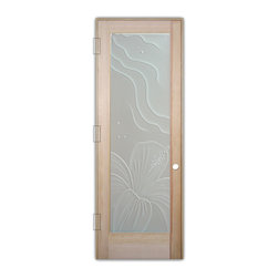 "Sans Soucie Art Glass (door frame material T.M. Cobb) - Interior Glass Door Sans Soucie Art Glass Hibiscus 3D Private - Sans Soucie Art Glass Interior Door with Sandblast Etched Glass Design. GET THE PRIVACY YOU NEED WITHOUT BLOCKING LIGHT, thru beautiful works of etched glass art by Sans Soucie!  THIS GLASS PROVIDES 100% OBSCURITY.  (Photo is View from OUTside the room.)  Door material will be unfinished, ready for paint or stain.  Satin Nickel Hinges. Available in other wood species, hinge finishes and sizes!  As book door or prehung, or even glass only!  3/8"" thick Tempered Safety Glass.  Cleaning is the same as regular clear glass. Use glass cleaner and a soft cloth."