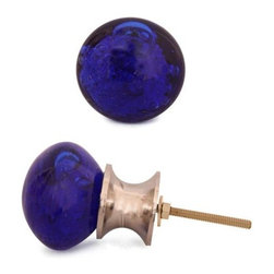 """Knobco - Glass Knob, Dark Blue With Air Bubbles - Dark Blue Glass Round Knob with Air Bubbles for your kitchen, bathroom cabinets and drawers. These fun glass knobs  add a touch of design to your household cabinets, drawers or dressers.  Cabinet knobs are approximately 1.25"""" in diameter."""