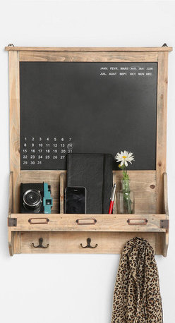 Reclaimed Wood Chalkboard - Perfect for your entryway, this reclaimed wood chalkboard features a perpetual calendar, hanging hooks and a shelf for knickknacks.