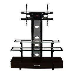 Z-Line Designs - Z Line Sync Flat Panel 3 in 1 Television Mount System - This contemporary 3 in 1 television mount system, features a piano black finish and a durable metal frame. It also has clear tempered safety glass shelves with a black border and chrome cylinder glass supports. The base has a large dedicated media drawer. It features three unique ways to display the television and accommodates most LCD/Plasma TV of up to 60 inches with a maximum weight capacity of 150 lbs. The mount allows for multi-position viewing and includes a universal hardware mounting kit. The open shelves allow proper air circulation and the back has wire management for hiding cords and cables.