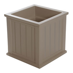 "Mayne Inc. - Cape Cod Patio Planter 20x20 Clay - Looking to upgrade your outdoor space? Enhance the look of your patio or front entrance with a selection of Mayne's Cape Cod planter collection. With rich architectural detail you can easily transform your patio into your own personal retreat. The Cape Cod planters also feature a water-reservoir that creates a self watering effect to keep your plants looking fresh! The Cape Cod collection features a beaded panel design. Our molded plastic planters are made from high-grade polyethylene, double wall design.  Inside dimensions are 16""L x 16""W x 13""D, approximately 10.7 gallon soil capacity. Inside dimensions are 12""L x 12""W x 12""D, approximately 4.6 gallon soil capacity. Water reservoir capacity is approximately is 8.75 gallons (33 litres). 15-year limited warranty."