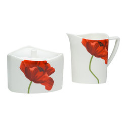 Red Vanilla - Red Vanilla Summer Sun Sugar and Creamer Set - Brighten up your coffee service with this floral-pattern sugar and creamer set. This china set is built for durability, with pieces that can be placed in microwave, oven, freezer, and dishwasher without damage to the decorative red poppies on the sides.