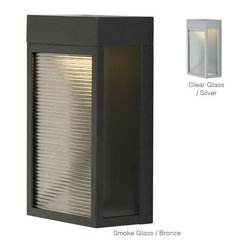 LBL Lighting - Moi 11 -  LED Outdoor Wall Sconce | LBL - LBL Lighting Moi 11 LED Outdoor Wall Sconce features�_a metal frame with clear or colored transparent glass rods.�_Mounts down only. �_ Manufacturer:�_LBL LightingSize:�_6.5 in. width x 11.4 in. height x 3.9 in. wall projection Light Source:�_1 x 10 watt [840 lumen 3000K 80 CRI LED module 120V or 277V] - included Certifications: UL Location:�_Wet ADA�_Compliant Dimmable�_with low-voltage electronic dimmer or universal dimmer - not included