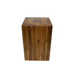 Bahari - Teak Wood Ring Pattern Block Stool - Teak Wood Ring Pattern Block Stool.  Plantation grown teak wood with polyurethane matte finish.  Versatile functional as a seating, side table or coffee table!  Indoor use only.