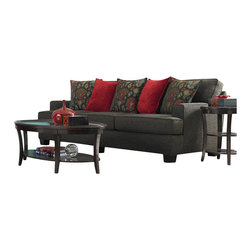 Broyhill - Broyhill Westport Dark Greyish Brown Sofa with Walnut Wood Finish - Broyhill - Sofas - 36703Q - About This Product: