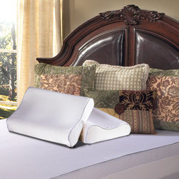 Grande Hotel Collection - Grande Hotel Collection Contour Memory Foam Pillow - Put your mind and head to rest with enhanced pressure relieving comfort of this memory foam pillow.  The contour shape of this bedding gently supports your head and neck ensuring a natural healthy sleeping position.