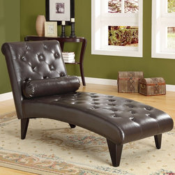 Dark Brown Leather-Look Chaise Lounger - Combining a tailored feeling and contemporary flair effortlessly, this Dark Brown Leather-Look Chaise Lounger is upholstered in dark brown leather-look. Tufted accents and a cylindrical pillow add luxurious appeal. Stretch out in comfort on this gently contoured chaise lounger!