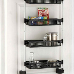 Organize It All Over-the-Door 4-Basket Unit with Hooks - Over-the-door storage is perfect for the pantry and craft closets.