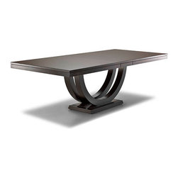 Woodcraft - Metropolitan Table - If you want a table that doubles as a work of art, this is it! So elegant, so understated (so cool!), it's mounted on a graceful arc pedestal base which makes it architecturally interesting and allows for ample legroom. Choose any style of chair you like — they'll all work perfectly with this piece that reads basic, but is anything but.