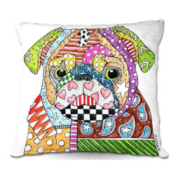 DiaNoche Designs - Pillow Woven Poplin by Marley Ungaro - Pug Dog - Toss this decorative pillow on any bed, sofa or chair, and add personality to your chic and stylish decor. Lay your head against your new art and relax! Made of woven Poly-Poplin.  Includes a cushy supportive pillow insert, zipped inside. Dye Sublimation printing adheres the ink to the material for long life and durability. Double Sided Print, Machine Washable, Product may vary slightly from image.