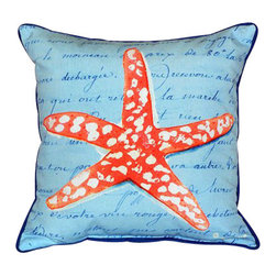 Betsy Drake - Betsy Drake Coral Starfish Blue Pillow- Indoor/Outdoor - Coral Starfish Blue Pillow- Large indoor/outdoor pillow. These versatile pillows are equal at enhancing your homes seaside decor and adding coastal charm to an outdoor setting arrangment. They feature printed outdoor, fade resistant fabric for years of wear and enjoyment. Solid back, polyfill. Proudly made in the USA.