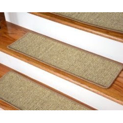 Dean Flooring Company - Dean Attachable Non-Skid Sisal Carpet Stair Treads - Desert - Set of 13 - Dean Attachable Non-Skid Sisal Carpet Stair Treads - Desert - Set of 13 : Beautiful All Natural Sisal Stair Treads by Dean Flooring Company. Color: Desert Approximately 29 inches by 9 inches. Set includes 13 pieces. Each tread is machine serged with color matching yarn. High quality sisal natural fiber construction. Heavy duty non-skid rubber backing. Helps prevents slips on your hardwood stairs. Provides warmth and comfort. Extends the life of your hardwood stairs. Great for pets (facilitates navigation of slippery stairs). Easy do-it-yourself installation with included Double-Sided Carpet Tape. Add a touch of warmth and style to your stairs today!