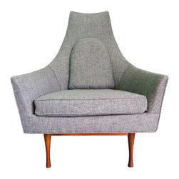 "John Widdicomb - Consigned Paul McCobb for Widdicomb Symmetric Vintage Chair - A rare, newly upholstered, mid-century modern, Paul McCobb for Widdicomb Symmetric High Back Lounge Chair. No Label/Makers Mark. Seat, 17"" H."