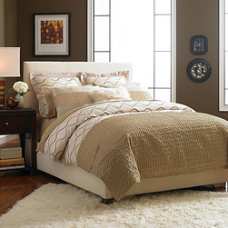 CAMBRIA Duvet Set - - Embroidered Poly Silk Duvet Cover with pin tuck turnback