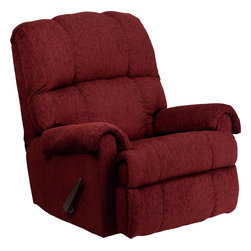 Flash Furniture - Flash Furniture Contemporary Tahoe Burgundy Chenille Rocker Recliner - This is a great little Rocker recliner, period. It has been built to just the right dimensions for the average sized person, but it gives all the comfort you would expect from an over-stuffed recliner. The Chenille cover, made from a Cotton-Poly-Acrylic blend, is very durable and comfortable. It is simply an outstanding value. [WM-8700-213-GG]