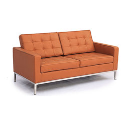 Kardiel Florence Knoll Style Loveseat, Luxe Camel Genuine Leather - The Florence Knoll Sofa, Chair and Loveseat is a design icon. The original design was conceived in 1956 by Florence Knoll, a world class architect and designer. It is a relatively simple design as it was originally meant to complement the classic innovations of Saarinen and Bertoia. The Knoll philosophy of furniture design solves practical and aesthetic design problems. The philosophy results in minimalist beauty, lasting durability and luxurious comfort in one complete package. It is well known that Knoll studied and collaborated with Mies Van Der Rohe. Knoll designed the classic trio using a durable stainless steel frame with minimal materials. Cubic cushions featuring compressed buttons in a purposeful and logical layout provide style and comfort to the supporting thin armed, minimalist frame. Do you notice the similarities in design philosophy to the Mies Van der Rohe's Barcelona Chair? The Knoll Sofa, Love and Chair is becoming even more popular as its minimalist yet functional de