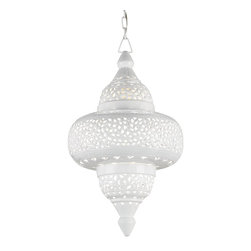 Currey & Company - Seseame Lantern - The charming ethnic form of the Seseame Lantern gives a strong sense of drama to a room. The metal form is pierced by hand and is finished in a Glossy White. The small openings allow light to penetrate through and add interest and mystery to the fixture.