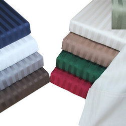 Bed Linens - Egyptian Cotton 400 Thread Count Stripe Duvet Cover Sets Full/Queen Burgundy - 400 Thread Count Stripe Duvet Cover Sets