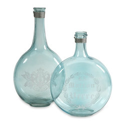 iMax - iMax Kate Glass Green Bottles - Set of 2 X-2-21848 - Add a classic touch to your kitchen with the Kate blue glass bottles. They are inspired by vintage apothecary labels aged to perfection.