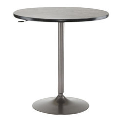 Hillsdale Furniture - Hillsdale Aspen / Valencia Adjustable 36x36 Pub Table in Oyster Grey - The Hillsdale Aspen/Valencia adjustable pub table is a subtle yet suitable piece for the home, and a valuable investment for the bistro or restaurant owner. It's sleek and modern, without an over-emphasis on chrome or stainless steel that is commonly seen in pub tables. The oyster grey finish lends an air of sophistication that is ideal for entertaining areas. With an adjustable base, this table can reach barstool heights, or be comfortable for use with table chairs. The table top's finish makes it a classy implementation that won't illuminate unsightly messes or smudges.