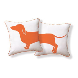 Naked Decor Happy Hot Dog Pillow/Orange & White - Check out our super comfy modern throw pillow.  We love this happy orange dog, set with a white background and edged with orange piping!
