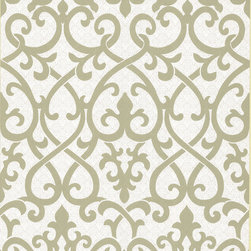 Kenneth James - Giselle Olive Ironwork Damask  Wallpaper - You're no wallflower — so your wallpaper must be bold! This pattern represents the strength and beauty of old-world ironwork, while the subtle colors keep it from overpowering.