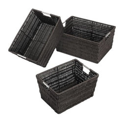 Whitmor - Rattique Baskets Set of 3 Espresso - Whitmor's Rattique storage baskets offer a stylish way to organize almost any space in your home or office. These totes look like rattan but are made of a durable easy to clean woven plastic. The chromed metal frame has integrated handles for easy access and carrying. Set of three baskets. Espresso