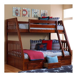 "Discovery World Furniture - Weston Twin over Full Bunk Bed with Built-In Ladder - Features: -Weston collection. -Solid pine construction. -Bed will support up to 400 lbs of distributed weight. -Complete slat kit makes bed mattress ready. -Accommodates 8"" Mattress. -Bed accommodates 8"" Mattress. -For bed no foundation required. -Must choose trundle OR drawers (not compatible together). -Optional trundle available. -Three drawer underbed unit. -Three 16"" deep drawer. -Used with all bunk bed. -Storage is separate. -General conformity certificate. -Meets all ASTM and CPSC specifications. -Discovery World Furniture provides one year limited warranty. -Dimensions: 66"" H x 78"" W x 57"" D. Make a bedroom pull double duty with the classically good-looking Weston Twin over Full Bunk Bed with Built-In Ladder. Allowing children to share a room or to have an extra bed for guests, the Weston Twin over Full Bunk Bed with Built-In Ladder is a smart use of bedroom space. Made of solid pine wood, the Weston Twin over Full Bunk Bed with Built-In Ladder is available in either honey or merlot finishes. The rich color paired with the clean lines and plank-style design gives a distinctly New England feel to this stylish bed. With slat construction, this bunk bed accommodates one twin size mattress and one full size mattress up to 8 thick each (not included) and doesnt need a box spring. It can hold up to 400 lbs. and meets all ASTM and CPSC specifications. Between the top and bottom bunks is an ample 31.5 of space, leaving plenty of room for both top and bottom bunk sleepers. The ladder can be assembled toward the front or the back of the bed, accommodating most bedroom layouts. The optional under-bed storage area adds three 4.75 H x 15 W x 18 D storage drawers to accommodate clothes, clutter and more. You can complete the look of the room with other items from the Weston Collection (sold separately)."