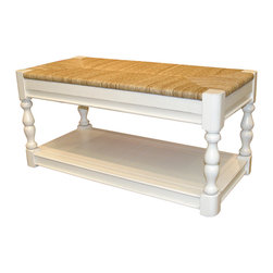 Tradewinds - Cottage Newport Bench, White - Artistically carved, this Newport bench is versatile enough to be used in the interiors as well as exteriors of your house. This wonderful furnishing piece precisely depicts the cottage style furniture look. Besides, it accommodates B-100 baskets to provide ample storage space.