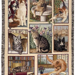 Manual - Kitty Corner Cat Tapestry Throw Blanket 50 Inch x 60 Inch - This multicolored woven tapestry throw blanket is a wonderful addition to the decor of any cat lover. Made of cotton, the blanket measures 50 inches wide, 60 inches long, and has approximately 1 1/2 inches of fringe around the border. The blanket features a print featuring 8 different cat images. Care instructions are to machine wash in cold water on a delicate cycle, tumble dry on low heat, wash with dark colors separately, and do not bleach. This comfy blanket makes a great housewarming gift that is sure to be loved.