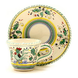 Artistica - Hand Made in Italy - Orvieto: Espresso Cup and Saucer - Orvieto Collection: This is a very old and traditional pattern that originated during the Renaissance in the hill-top town of Orvieto - Italy.