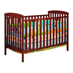 AFG Baby - AFG Baby Leila Crib & Changer Set in Cherry - The Langley Crib and Dresser Nursery Set is the perfect choice for the beginning of the baby's room. This delightful set pairs a classic baby crib with a spacious dresser, both made of beautiful solid hardwood and nontoxic finishes. The crib itself boasts a 4-level adjustable mattress support to accompany the child's needs throughout his/her growth. The Dresser includes 2 generously-sized shelves and drawers for convenient storage. Rails along the top of the dresser allow it to also function as a changing table.