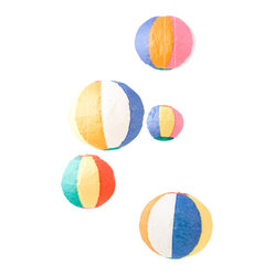kuramae - Standard Paper Balloon Set - Are they beach balls? Paper lanterns? Balloons? How about all of the above. This set of five paper balloons can be blown up and reused for endless room and party decoration ideas.