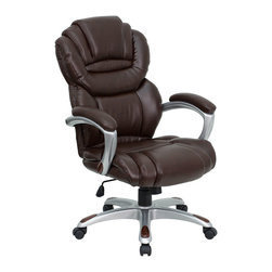 Flash Furniture - High Back Brown Leather Executive Office Chair with Leather Padded Loop Arms - This popular contemporary high back office chair features soft brown leather upholstery, an overstuffed seat, back and arms, and contemporary ergonomic styling to provide an unmatched sitting experience. Chair features a silver nylon base with black caps that prevent feet from slipping. For your next office chair, look no further than this comfortable and very stylish leather office chair!