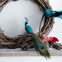 Feather Bird Ornaments - Quirky, colorful and full of whimsy, these feathered birds are a great finishing touch for your holiday wreath.