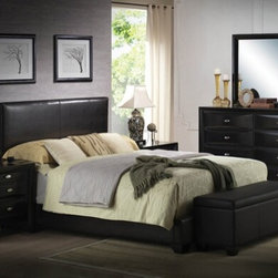 "Acme - 5-Piece Ireland V Collection Queen Bed Set with Black Leather-Like Panel Head - 5-Piece Ireland V collection queen bed set with black leather like panel headboard and black wood finish. This set includes the queen bed set, one nightstand, dresser, mirror and storage bench. Queen bed set with black leather like panel headboard. Nightstand measures 26"" x 17"" x 25"" H. Dresser measures 59"" x 17"" x 41"" H. Mirror measures 39"" x 35"" H., storage bench measures 48"" x 16"" x 18"" H. Some assembly may be required. Twin, Full and Eastern king available at additional cost."