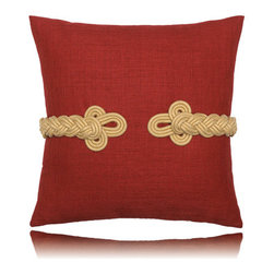Elaine Smith - red frogs clasp pillow (19x19) - Performance pillows from renowned textile designer Elaine Smith® feature unique fabrics that are both soft and stylish, rich in color, lavish in detail, and impervious to the elements.