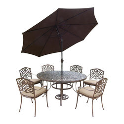 Oakland Living - 9-Pc Traditional Patio Dining Set - Includes one round table, six stackable chairs with cushions, crank and tilting umbrella and stand. Metal hardware. Fade, chip and crack resistant. Umbrella hole. Center of table can be replaced with ice bucket. Lattice pattern and scroll work. Warranty: One year limited. Made from rust free cast aluminum. Antique bronze hardened powder coat finish. Minimal assembly required. Table: 60 in. Dia. x 29 in. H (70 lbs.). Chair: 23 in. W x 22 in. D x 35.5 in. H (25 lbs.)This 60 inch 9 piece dining set is the prefect piece for any outdoor dinner setting. Just the right size for any backyard or patio. The Oakland Mississippi Collection combines southern style and modern designs giving you a rich addition to any outdoor setting. Each piece is hand cast and finished for the highest quality possible.