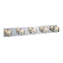 ET2 - ET2 Blocs Modern / Contemporary Bathroom / Vanity Light X-81-17122E - The building blocks of style, these lighting components come in a wide variety of applications for the most innovative illumination solutions. The adjustable ceiling lamp configuration boasts thick, clear/frosted square fixtures encasing xenon lighting elements. Light blocks are anchored to a reflective square, Polished Chrome, frame that reflects their simple elegance. Perfectly suited for singular or multiple applications where understated elegance is the preferred solution.