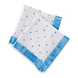 Aden + Anais - aden by aden + anais Muslin Comfort Issie Security Blanket in Luke Blue Star - A charming blanket with lovely satin trim and a cute print design will make a beautiful addition to the nursery. This portable blanket is just the right size for cuddling up.