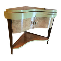 Pre-owned Vintage Italian Corner Bar Side Table - A 1940s Italian corner table. This one of a kind vintage table features cantilevering shelves, a puzzle-like top, and a swing out shelf with original brass handles. This table is a unique piece that has been re-finished in a lovely stone washed front with a green top and brown accents.