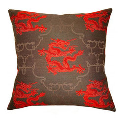 shopMACK - Chinoiserie Dragon Pillow, 24x24 - Add a little spice to your home with our Chinoiserie Dragon Pillow. Perfect for a man cave or office, this pillow will give your space just a hint of edge. The Chinoiserie Dragon has a zipper closure and comes complete with a feather/down insert. Made to order in the USA, please allow three weeks.
