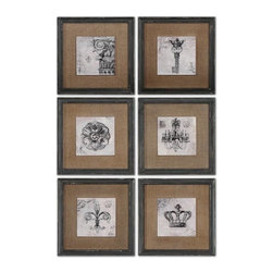 Uttermost - Grace Feyock Symbols Traditional Wall Art / Wall Decor Set of 6 X-00055 - Prints feature a glossy finish and are accented by medium brown burlap mats. Frames are finished in heavily distressed black with brown and gray accents.
