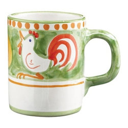 """Vietri Gallina Rooster Green Coffee Tea Mug Cup - Start your day with a hot cup of coffee in our Gallina mug, featuring whimsical handpainted roosters crowing at the rising sun in colorful orange and green. Mix with other animals from the Campagna collection to create a fun table! Handpainted on terra cotta in Vietri Sul Mare. Dishwasher safe. This peice measures approximately 3.5""""high and holds 12 fluid oz."""