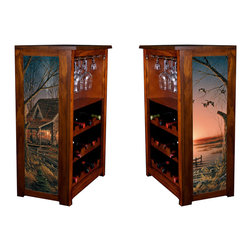 Kelseys Collection - Wine Cabinet 15 bottle Comforts of Home - Wine Cabinet stores fifteen wine bottles and glassware with licensed artwork by Terry Redlin giclee-printed on canvas side panels  The frame, top, and racks are solid New Zealand radiata pine with a hand stained and hand rubbed medium reddish brown finish, which is then protected with a lacquer coat and top coat. The art is giclee printed on canvas with three coats of UV inhibitor to protect against sunlight, extending the life of the art. The canvas is then glued onto panels and inserted into the frames.