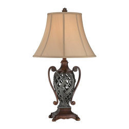 Lite Source - Lite Source Kylemore Traditional Table Lamp X-55214C - The urn-shaped frame of this Lite Source table lamp features European influencing and botanical accents that are complimented by a combination of Antique Bronze and Dark Bronze finishes. From the Kylemore Collection, the tan fabric bell shade of this traditional table lamp completes the look.