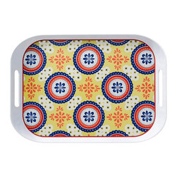 Q Squared NYC - Montecito Blue Large Tray - Transport your dining table to historical Montecito with the beautiful, vibrant colors of this collection, inspired by the intricate tiles and textures of the romantic city.